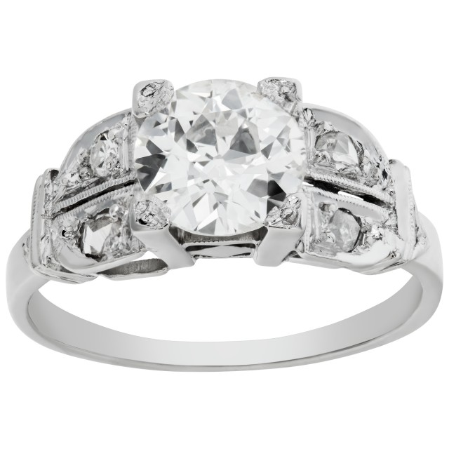 Vintage diamond platinum ring with central diamond app. 1.20 carats (I-J, SI1) image 1