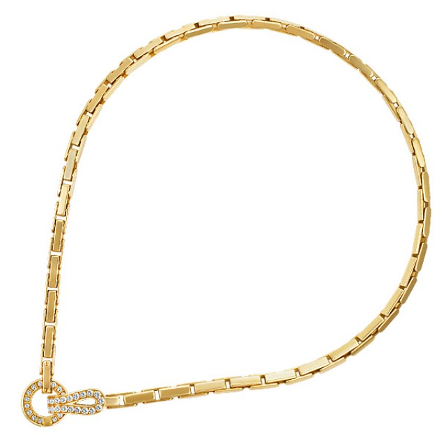 Beautiful Cartier Agrafe necklace in 18k yellow gold with app 1 ct in diamonds image 1