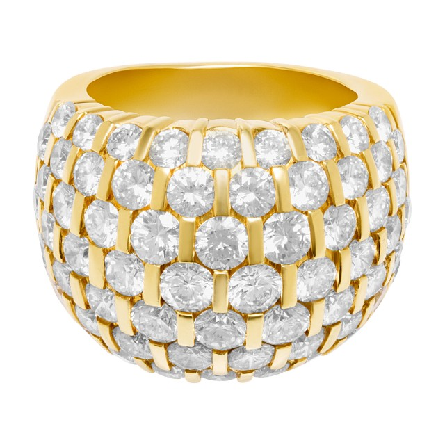 Magnificent diamond ring with over 8 carats in white clean round diamonds in 18k. Size 8.5 image 1