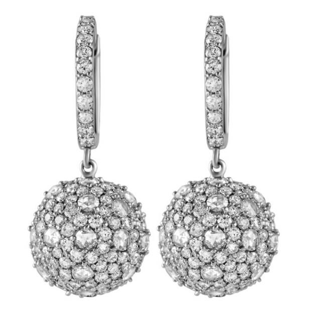 18k white gold diamond earrings image 1