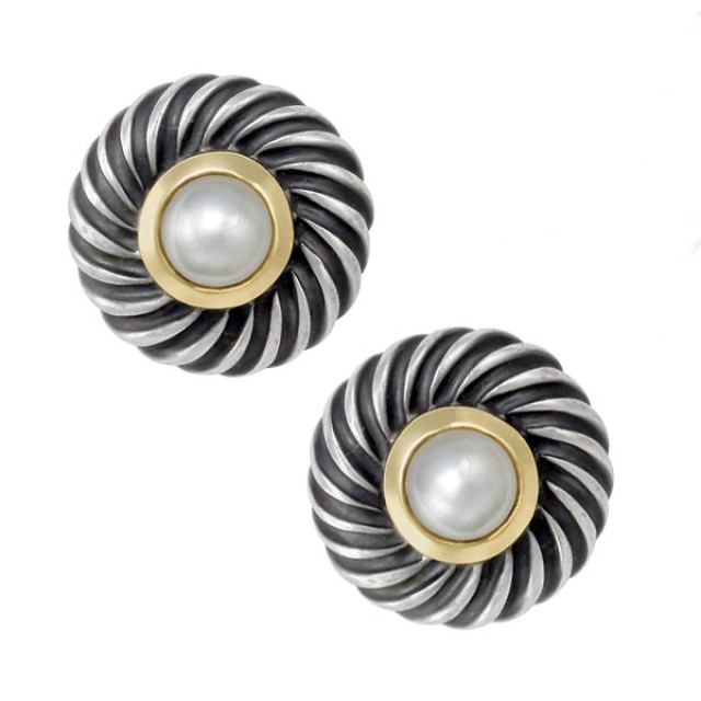David Yurman Color Classic earrings with center Pearl in sterling & 14k, 12mm diameter image 1