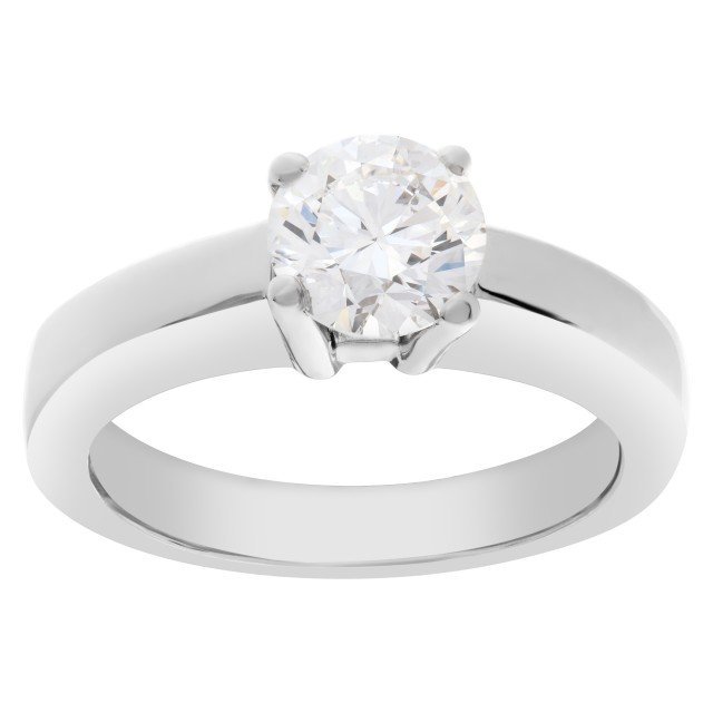 GIA Certified Diamond 1 ct (E color, VVS2 clarity) ring set in platinum. Size 5.25 image 1