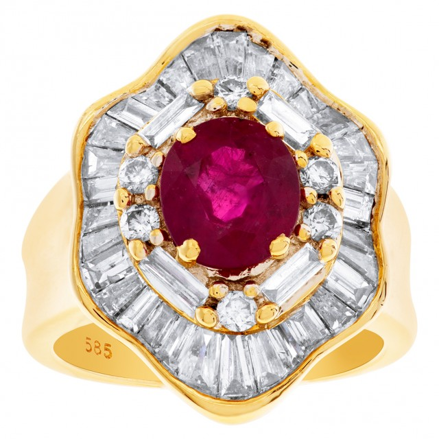 Gorgeous Ruby ring (1.61 cts) with 2.00 cts baguette and round diamonds in 14k image 1