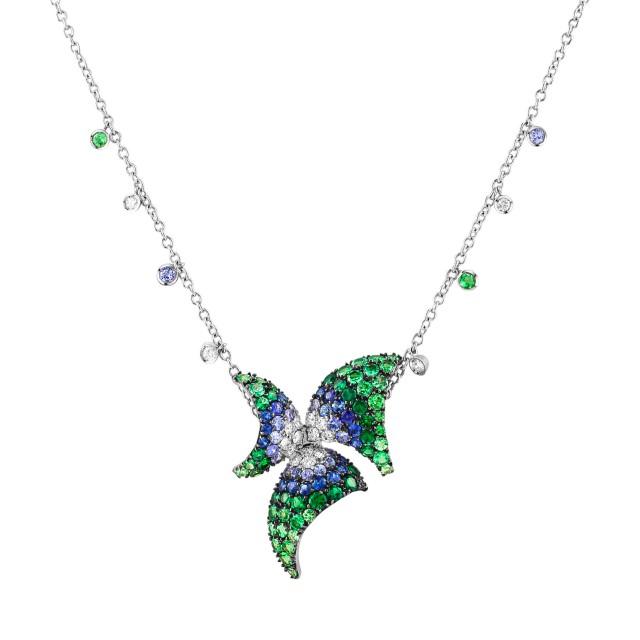 Stefan Hafner sapphire & diamond flower pendant necklace in 18k, 0.61 cts in dia & 1.50 cts in  sapp image 1