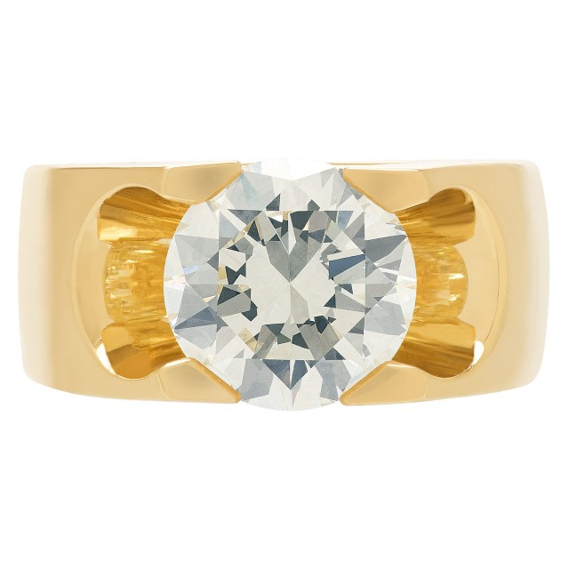 GIA Certified Round Diamond 6.00 cts (O-P Color, VS1 Clarity) ring set in 18k yellow gold image 1