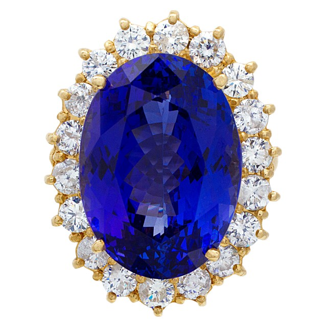 Tanzanite and diamond ring in 14k gold with approx. 25 carats tanzanite image 1