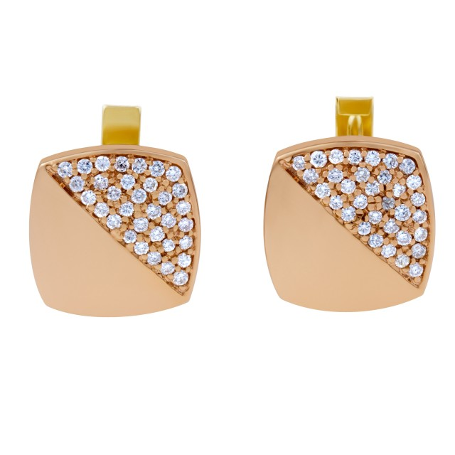 Striking square 18k yellow gold cufflinks with pave set diamonds 1.07 carats image 1
