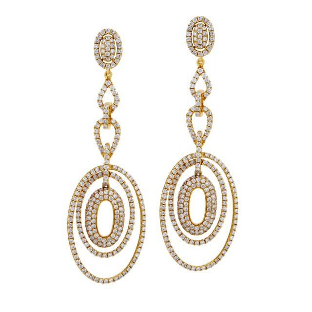 Oval drop diamond earrings in 18k image 1