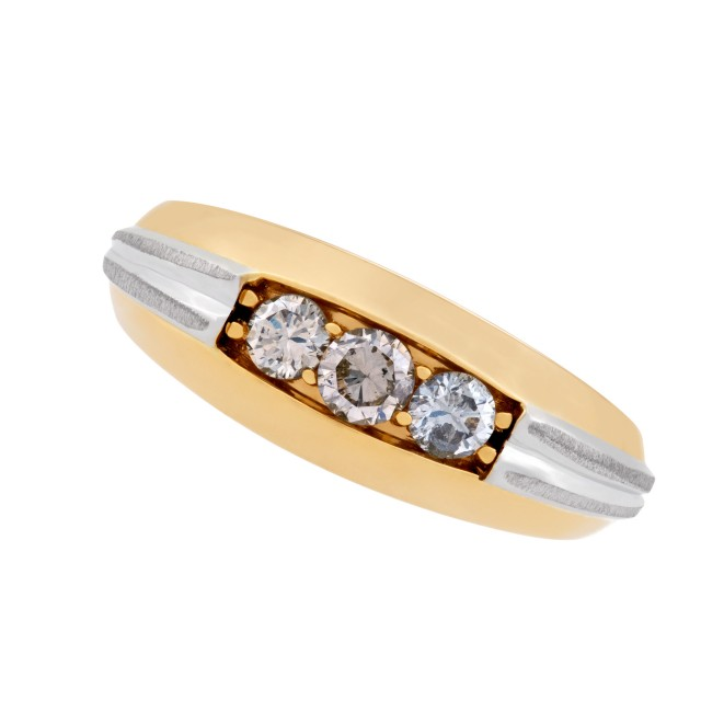 Mens diamond band set in 18k white & yellow gold. 0.50 carats. Size 10.5 image 1