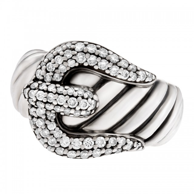David Yurman Buckle Ring In Sterling Silver With Diamonds image 1