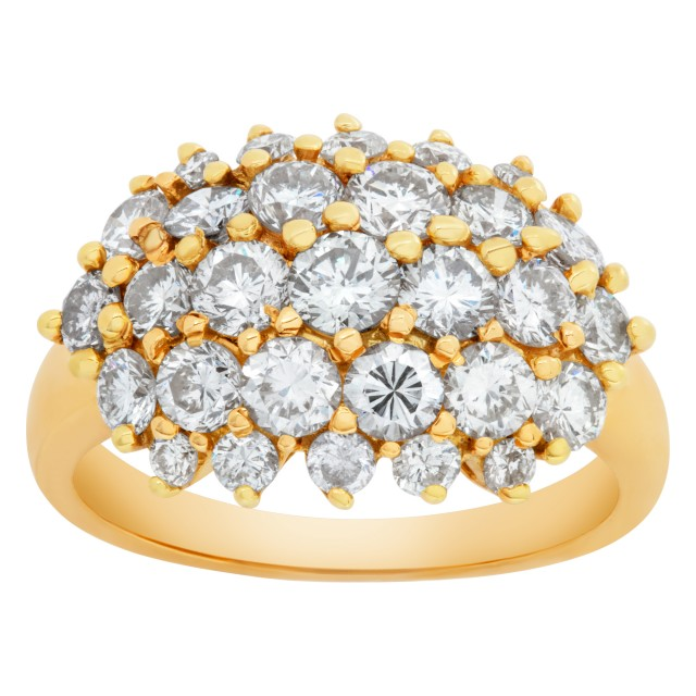 Diamond Cluster ring in 18k yellow gold. 2 carats in clean white diamonds. Size 5. image 1