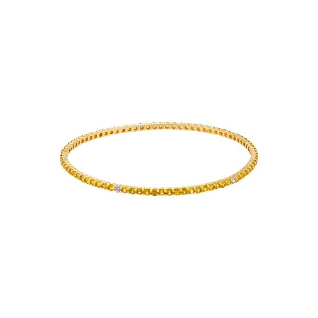 Yellow sapphire & diamond bangle in 18k yellow gold image 1