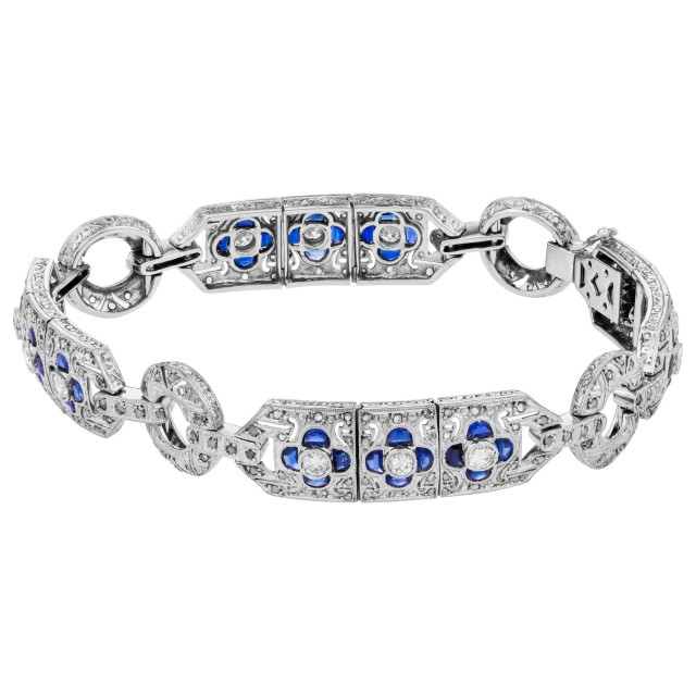 Deco-style Sapphire & Diamond bracelet in 18k white gold. 1.70cts in diamonds image 1