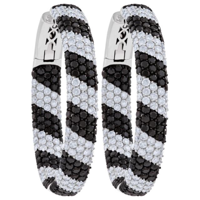 Hoop earrings in Black & White diamonds image 1