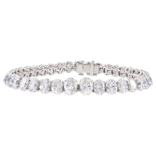 Cartier Platinum Diamond Bracelet With Over 15 carats In oval Diamonds image 1