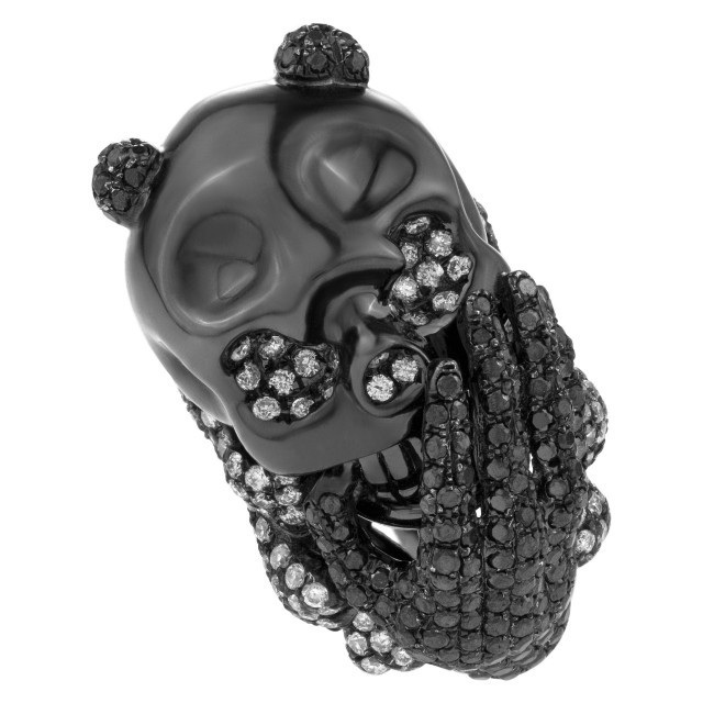 Avant-garde skull & hand design ring. 1.58cts of black diamonds in PVD 18k Wg image 1