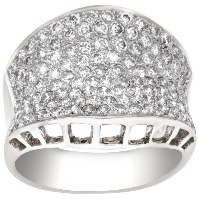 Exquisite pave diamond ring in white gold. 1.25 carats in pave diamonds. Size 6 image 1