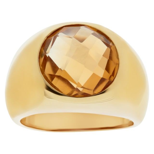 Shimmering faceted citrine ring in 18K yellow gold. image 1