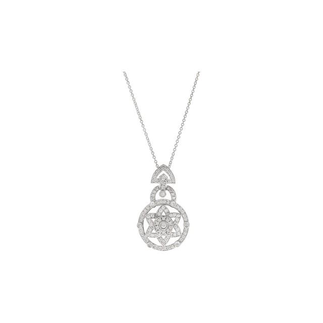 Unique 18K white gold and diamonds Star of David pendant image 1