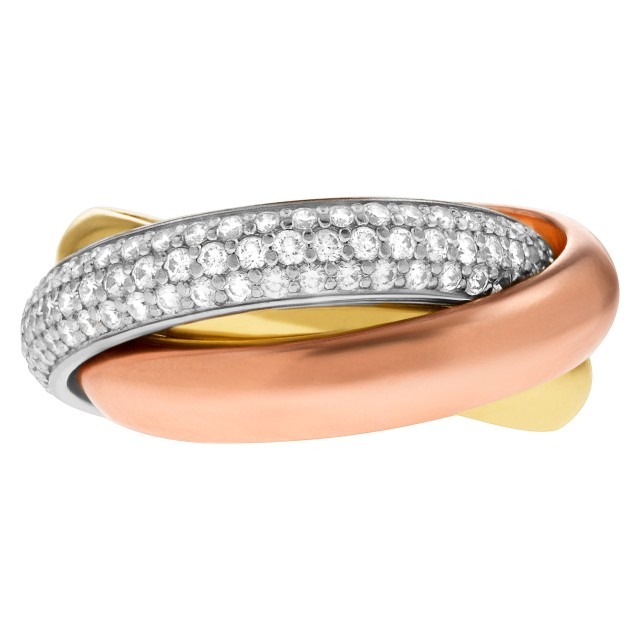 Cartier Trinity tri-color rolling ring with 1 full pave diamond band image 1