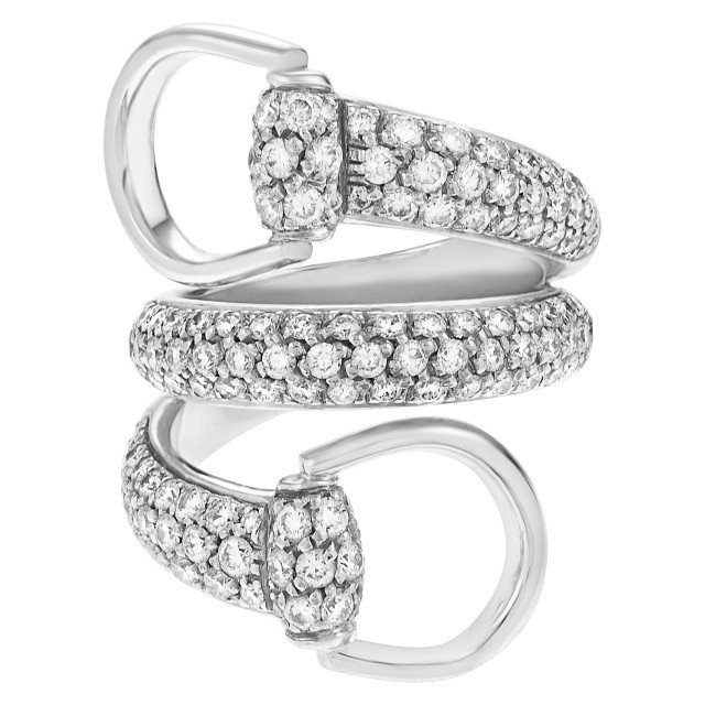 ee4a19bc5 Gucci Horsebit diamond ring in 18k white gold. 1.98 carats. Size 6 image 1  ...