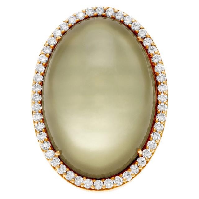 "Roberto Coin Lemon Quartz Mother of Pearl & diamond ""Cocktail"" ring in 18k rose gold image 1"