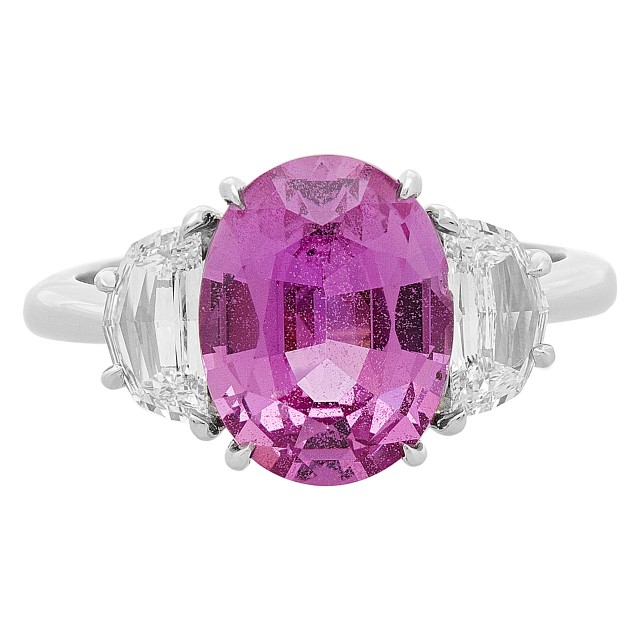 Madagascar Pink 3.68 carat oval cut sapphire ring with .79 cts in half moon diamonds image 1