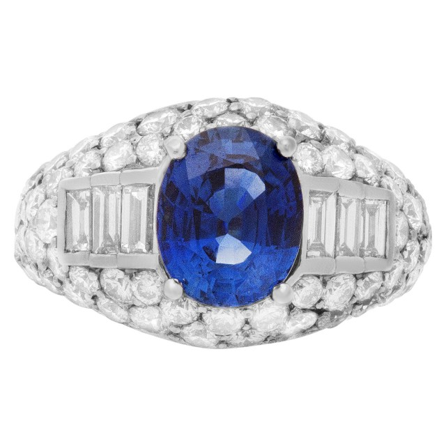 Sapphire & diamond ring in 18k white gold. 3.43 carat blue sapphire and approx. 3.91 cts in diamonds image 1