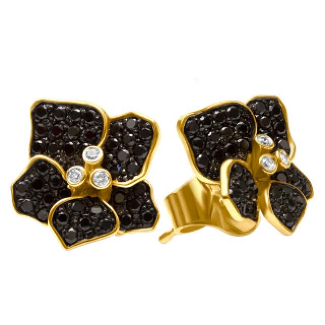 Flower diamond earrings in 18k with black & white diamonds image 2