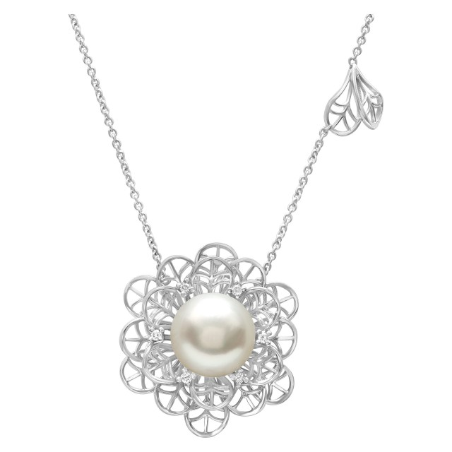 Big flower style 11.8mm South Sea Pearl necklace with diamond accents in 18k white gold image 1