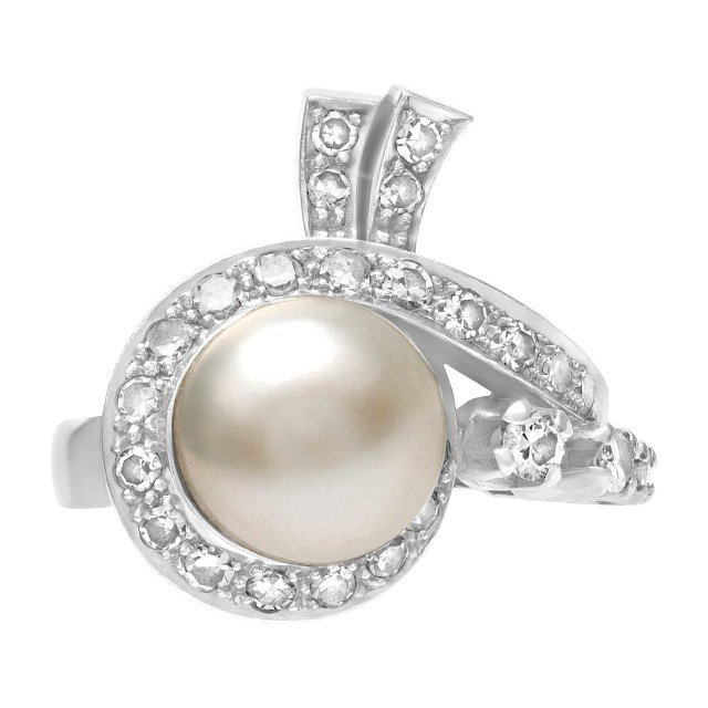 Platinum ring with center pearl and diamonds. 0.50cts in diamonds. 9.66mm pearl image 1