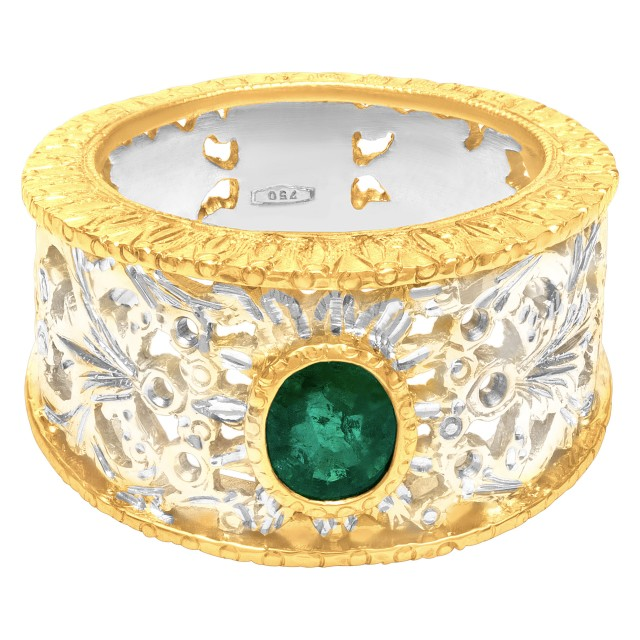 Vintage style emerald ring in 18k. Size 6.75 image 1