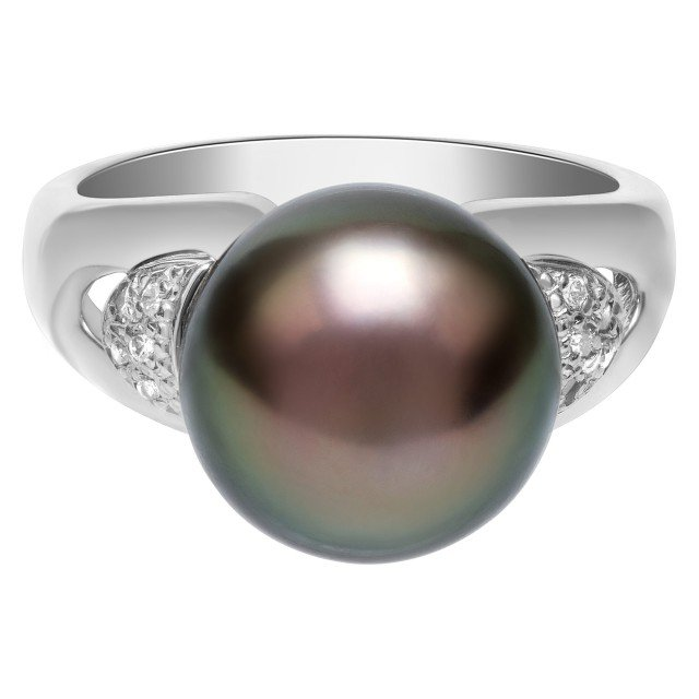 11.3mm black pearl ring in platinum with diamond accents. Size 5.75 image 1