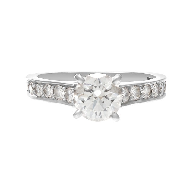 Cartier GIA certified 1.01cts round brilliant cut center diamond (F color, Internally Flawless clarity, Excellent Cut, Excellent polish, Excellent symmetry)  engagement ring in platinum. Size 6 image 1
