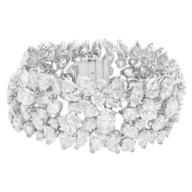 Platinum bracelet with fancy shape diamonds image 1