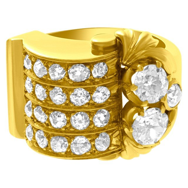 Old European cut diamond ring in 18k yellow gold. 2.00cts (H color, SI2 clarity) image 1