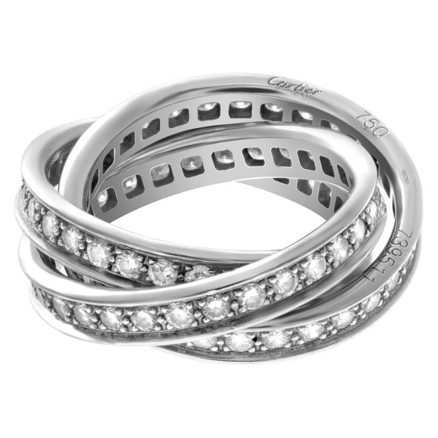 Cartier Trinity ring in 18k white gold with 1.55 carats in diamonds image 1
