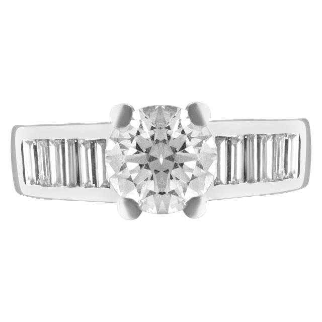 GIA certified round brilliant cut 1.14 carat D color, VS2 clarity diamond ring image 1