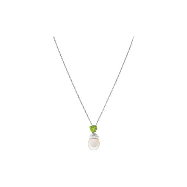 Trilliant tourmaline with pave halo of diamonds and pearl pendant necklace. 18k image 1