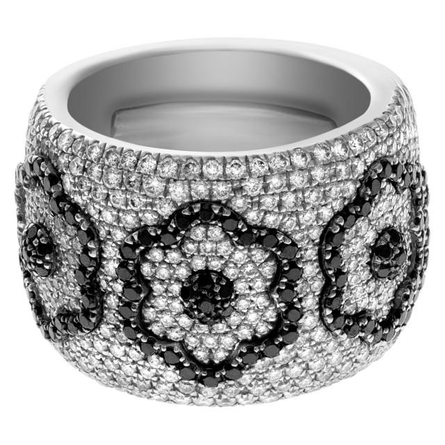 Giorgio Visconti diamond flower ring 1.75 ct in white & black diamonds in 18k white gold image 1