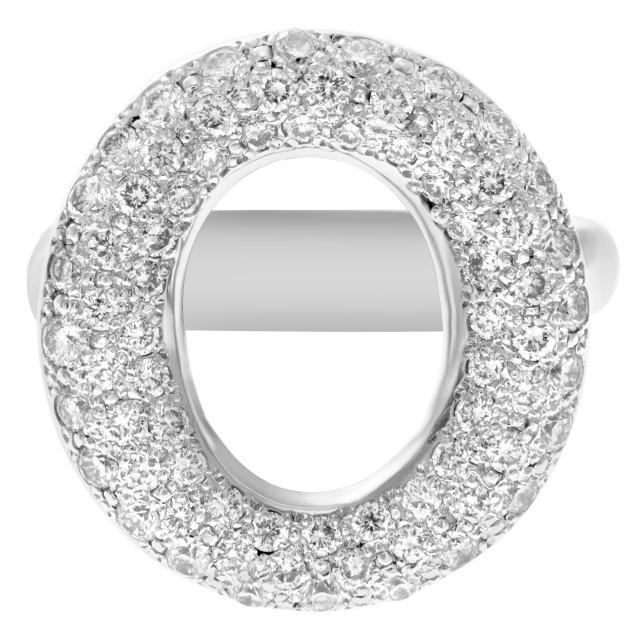 """O"" pave diamond ring in 14k white gold, 1 carat of diamonds image 1"
