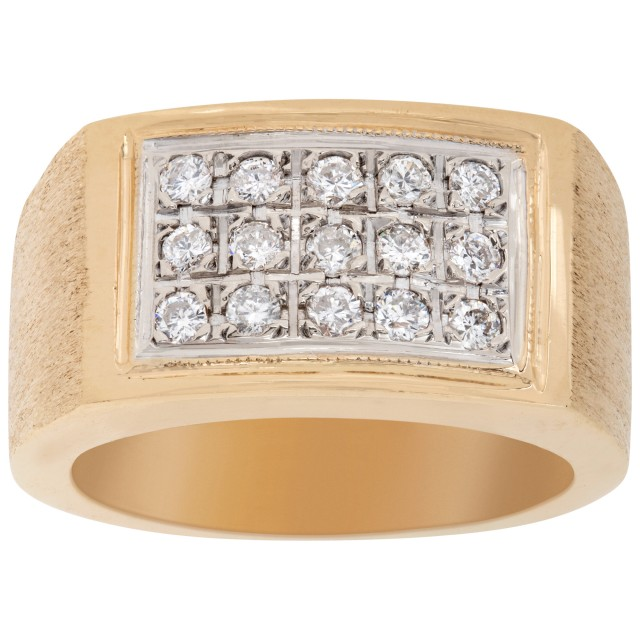 Gents solid diamond ring in 14k yellow gold.  0.70 carats in diamonds. Size 8 image 1