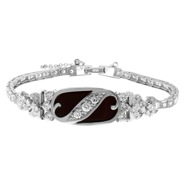 Diamond bracelet with Onyx center in 14k white gold. 2.00 carats in diamonds image 1