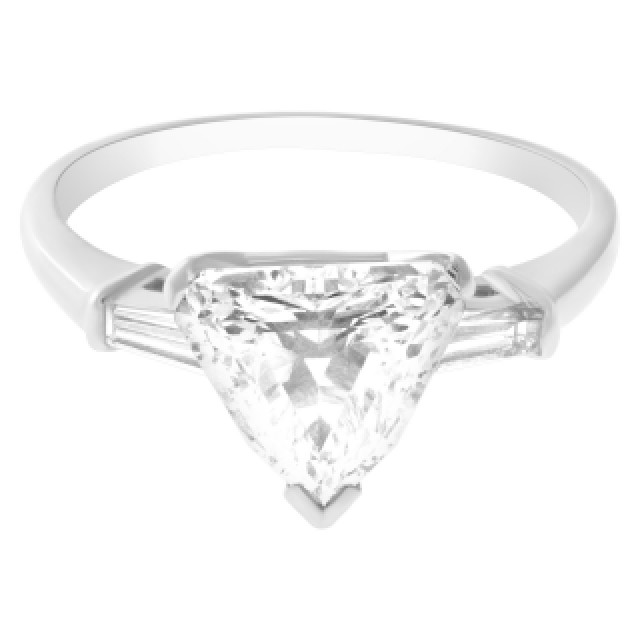 GIA certified Shield step cut diamond ring 1.48 carat (D color, VS2 clarity) set in platinum. Size 7 image 4