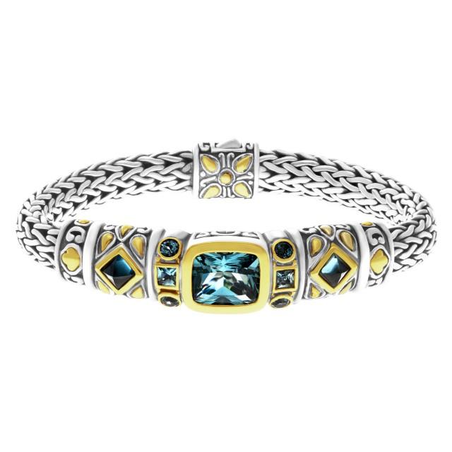 John Hardy Batu Kali Blue Topaz Triple Square Station Bracelet in sterling silver & 18k accents image 1