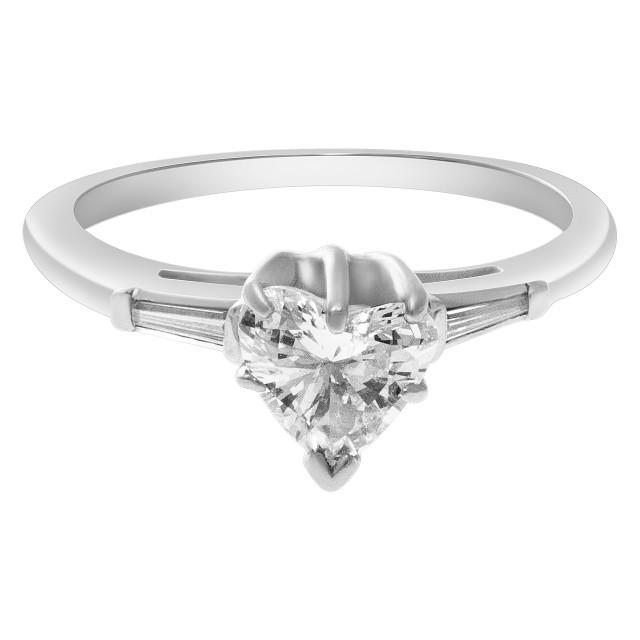 Heart shaped diamond ring in 14k white gold image 1