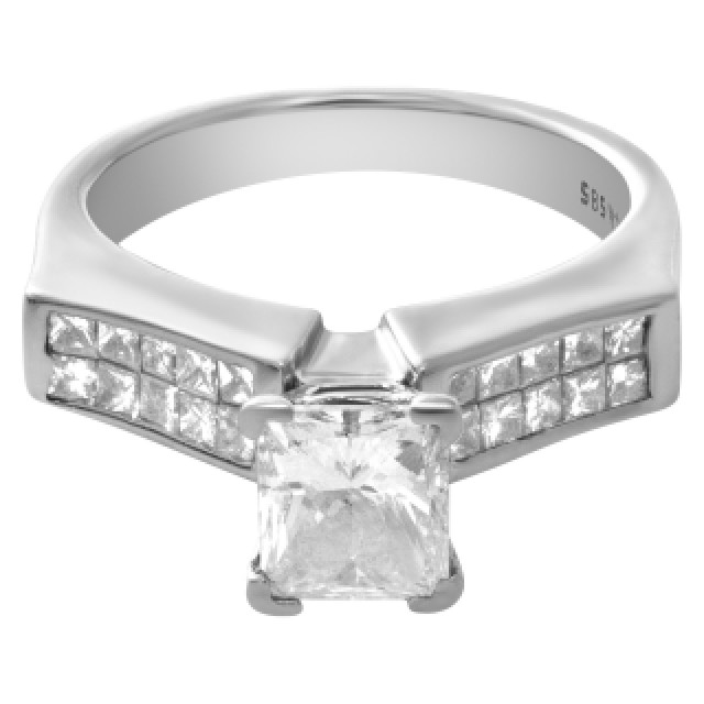 GIA certified diamond engagement ring with 1.01cts rectangular diamond (F color, SI2 clarity) set in 14k white gold image 4