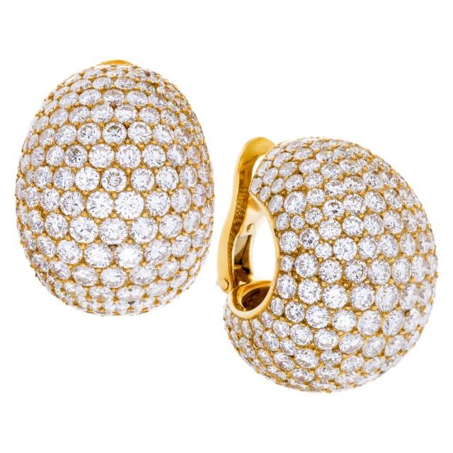 "Cartier 18K yellow gold diamonds ""Bombe"" ear clips image 1"
