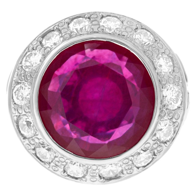 Lead glass composite ruby (19.20 cts) & diamond (5.20 cts) ring in 18k white gold image 1