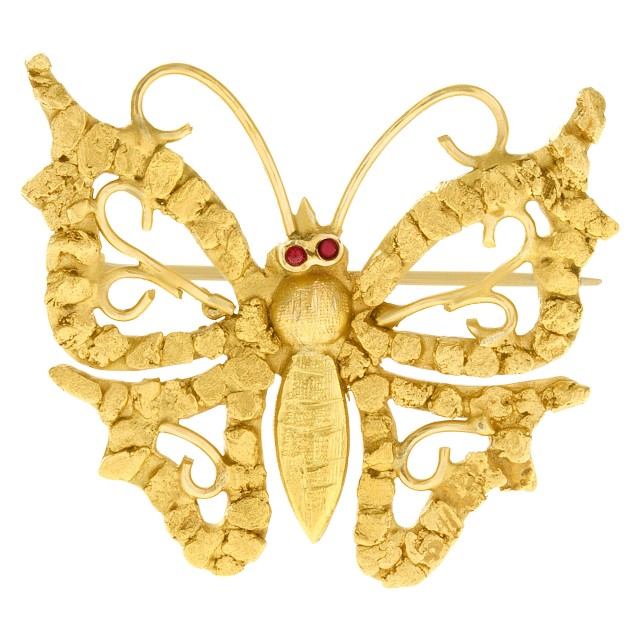 Butterfly pin set in 14k yellow gold image 1